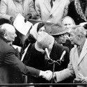 David Dinkins (r.) and Ed Koch shake hands at Dinkins' inauguration. (Photo By: Keith Torrie/NY Daily News via Getty Images)