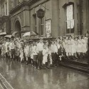 Children line up outside Public School number 2, a descendent of the schools established by the Free School Society.