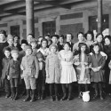 Newly arrived families at Ellis Island.